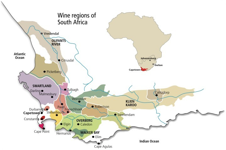 South Africa Regency Wines Nevada - South africa regional map
